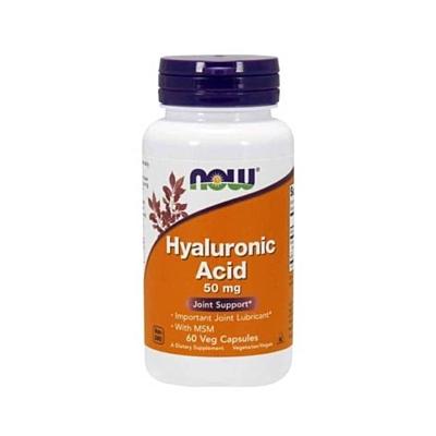 NOW Foods Hyaluronic Acid (Kyselina hyaluronová) 50 mg + MSM 60 kapslí