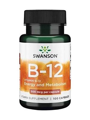 Swanson Vitamín B12 500 mcg 100 kapslí