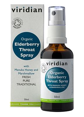 Viridian Elderberry Throat Spray Organic 50 ml