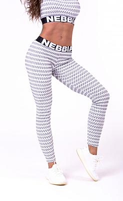 Nebbia 3D pattern dámské sportovní legíny Boho style 658 bílá